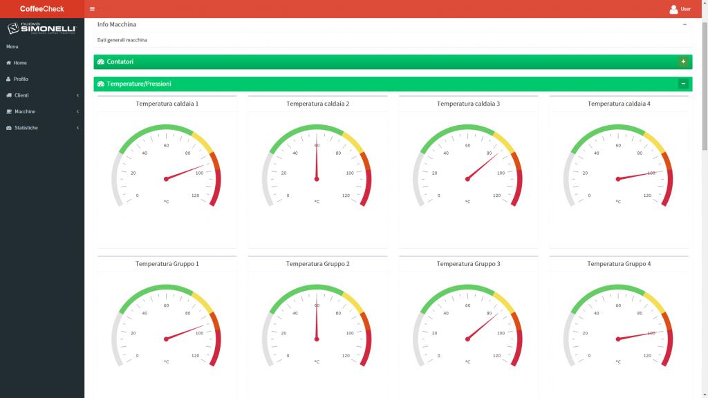 eurotech caffè dashboard  controllo remoto macchina